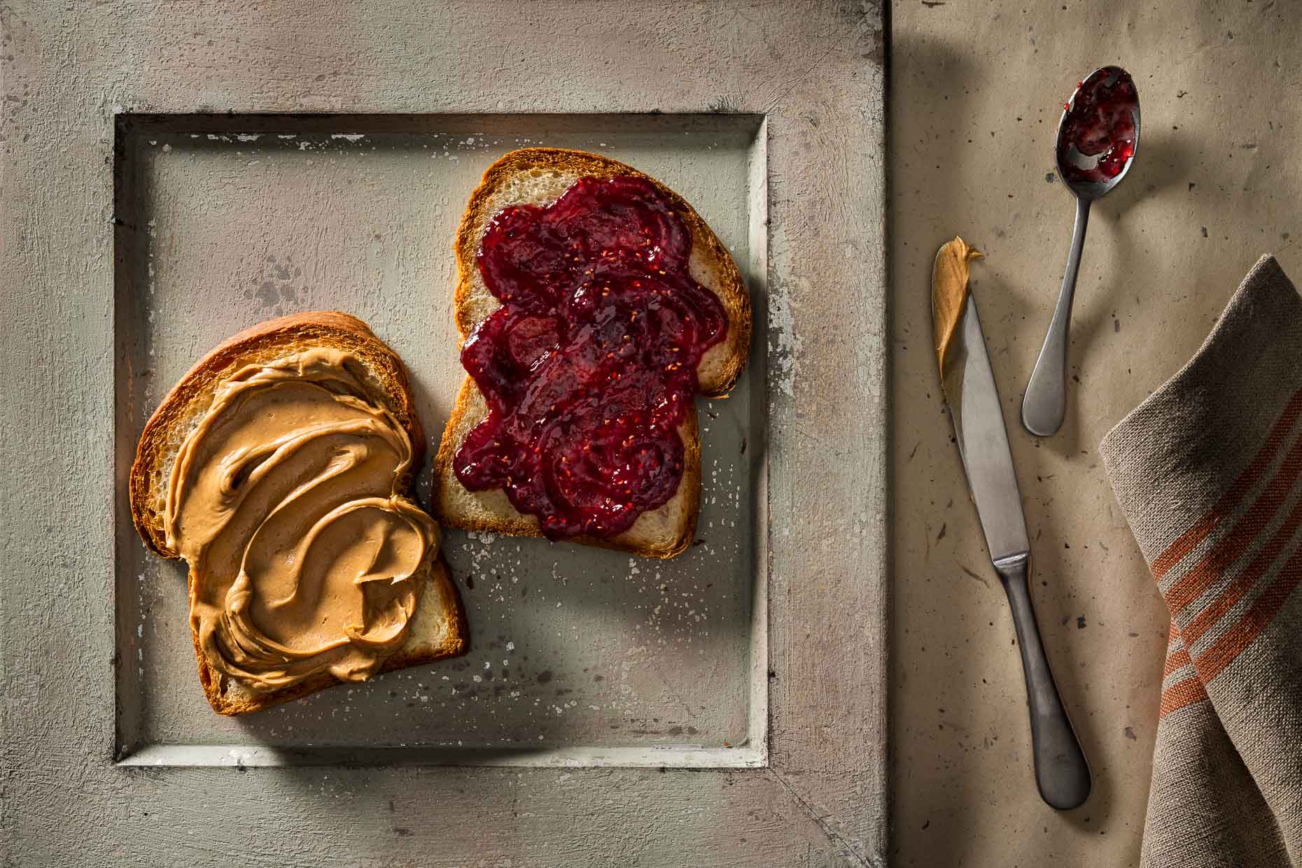 Peanut butter and jelly open sandwich