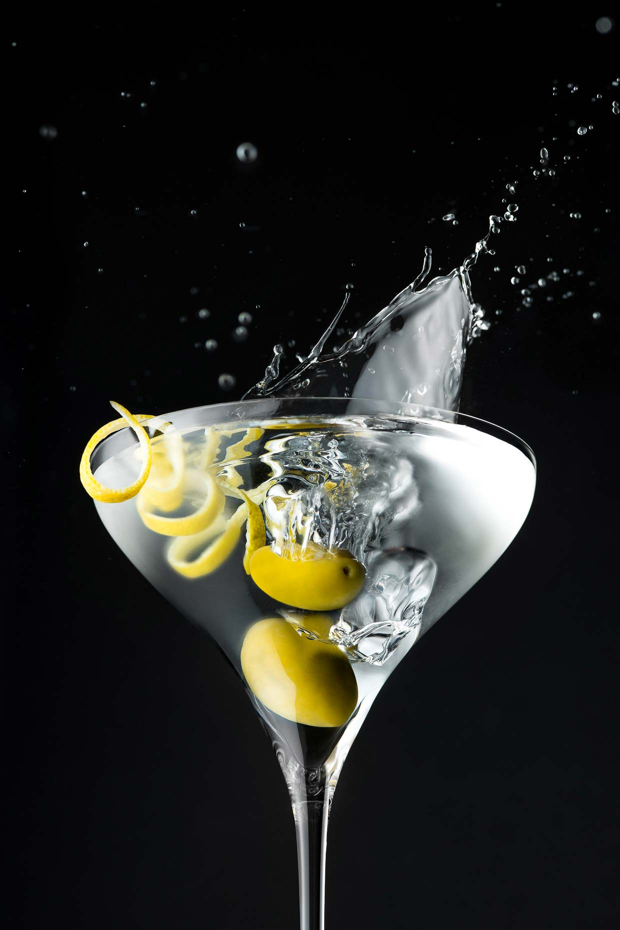 Martini Glass with Spiral Lemon Peel